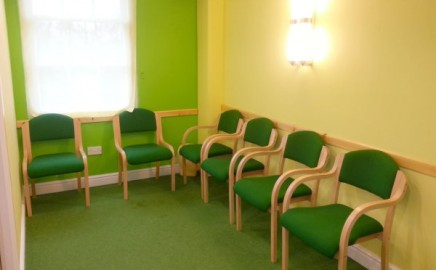 Reception area for medical rooms for rent in Derby city centre