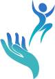 iphone icon of WellBeing Clinics logo showing a person jumping up from a healing hand