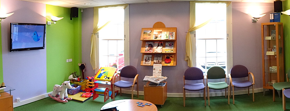 Central Derby Chiropractic clinic - spacious reception area and Childrens corner