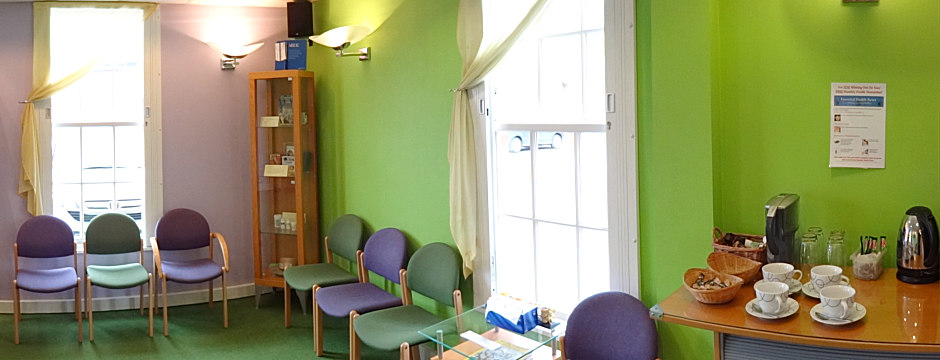 WellBeing Clinics Derby reception area - enjoy a cup of coffee or tea!